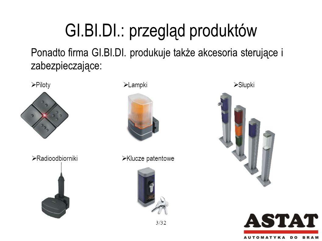 GI.BI.DI.: BL 230 Wyłączniki krańcowe umożliwiają szybką i prostą nastawę kąta otwarcia bramy Możliwość awaryjnego odblokowania Wykonanie z wysokiej jakości materiałów gwarantuje cichą pracę przez wiele lat Możliwość zastosowania elektrozamka Zasilanie: 230V AC Zastosowanie: bramy o długości jednego skrzydła do 3,5m o wysokiej częstotliwości używania (40%) BA 230 Zasilanie główne: 230V AC Zasilanie silnika: 230V AC Funkcja furtki Regulacja siły Liczba wejść fotokomórek - 2 Programowanie za pomocą wyświetlacza F4 PLUS, z tą różnicą, że : Liczba wejść fotokomórek – 1 Programowanie za pomocą dipów i trymerów 14/32