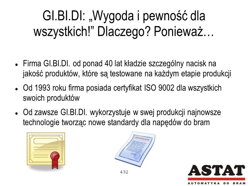 GI.BI.DI.: Pilot 4-kanałowy Częstotliwość 433 MHz Kod dynamicznie zmienny Ergonomiczne przyciski Możliwość przyklejenia do tapicerki samochodu lub przypięcia do kluczy Dostępny w wielu kolorach 25/32