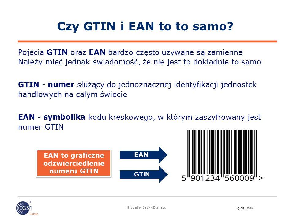 © GS1 2016 Globalny Język Biznesu Czy GTIN i EAN to to samo? Pojęcia GTIN oraz EAN bardzo często używane są zamienne Należy mieć jednak świadomość, że