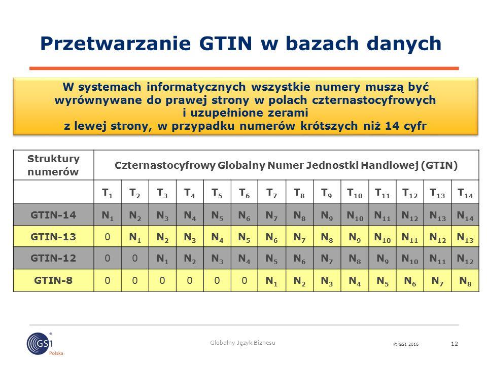 © GS1 2016 Globalny Język Biznesu 12 Struktury numerów Czternastocyfrowy Globalny Numer Jednostki Handlowej (GTIN) T1T1 T2T2 T3T3 T4T4 T5T5 T6T6 T7T7 T8T8 T9T9 T 10 T 11 T 12 T 13 T 14 GTIN-14N1N1 N2N2 N3N3 N4N4 N5N5 N6N6 N7N7 N8N8 N9N9 N 10 N 11 N 12 N 13 N 14 GTIN-130N1N1 N2N2 N3N3 N4N4 N5N5 N6N6 N7N7 N8N8 N9N9 N 10 N 11 N 12 N 13 GTIN-1200N1N1 N2N2 N3N3 N4N4 N5N5 N6N6 N7N7 N8N8 N9N9 N 10 N 11 N 12 GTIN-8000000N1N1 N2N2 N3N3 N4N4 N5N5 N6N6 N7N7 N8N8 W systemach informatycznych wszystkie numery muszą być wyrównywane do prawej strony w polach czternastocyfrowych i uzupełnione zerami z lewej strony, w przypadku numerów krótszych niż 14 cyfr Przetwarzanie GTIN w bazach danych