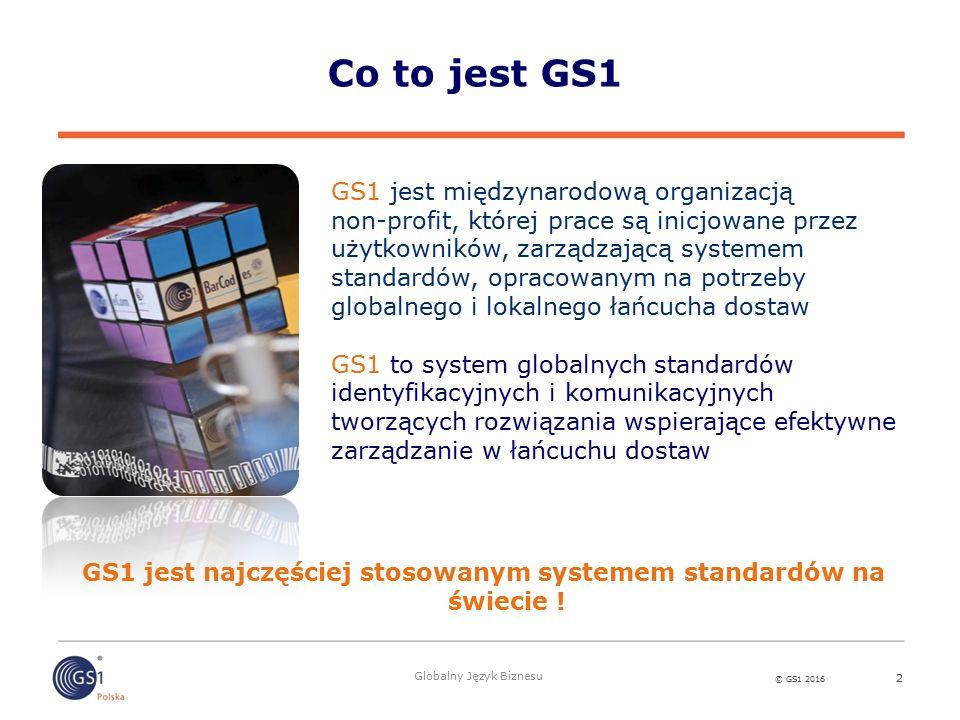 © GS1 2016 Globalny Język Biznesu Co to jest GS1 2 GS1 jest międzynarodową organizacją non-profit, której prace są inicjowane przez użytkowników, zarządzającą systemem standardów, opracowanym na potrzeby globalnego i lokalnego łańcucha dostaw GS1 to system globalnych standardów identyfikacyjnych i komunikacyjnych tworzących rozwiązania wspierające efektywne zarządzanie w łańcuchu dostaw GS1 jest najczęściej stosowanym systemem standardów na świecie !