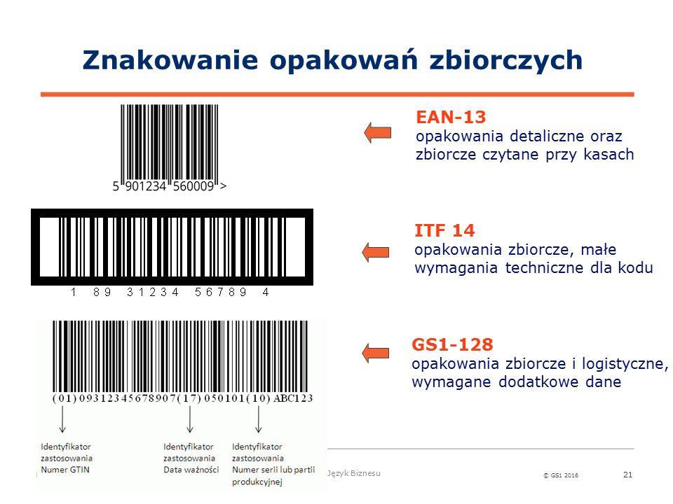 © GS1 2016 Globalny Język Biznesu 21 Znakowanie opakowań zbiorczych ITF 14 opakowania zbiorcze, małe wymagania techniczne dla kodu EAN-13 opakowania detaliczne oraz zbiorcze czytane przy kasach GS1-128 opakowania zbiorcze i logistyczne, wymagane dodatkowe dane