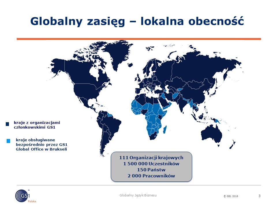 © GS1 2016 Globalny Język Biznesu Globalny zasięg – lokalna obecność 3 111 Organizacji krajowych 1 500 000 Uczestników 150 Państw 2 000 Pracowników 111 Organizacji krajowych 1 500 000 Uczestników 150 Państw 2 000 Pracowników kraje z organizacjami członkowskimi GS1 kraje obsługiwane bezpośrednio przez GS1 Global Office w Brukseli