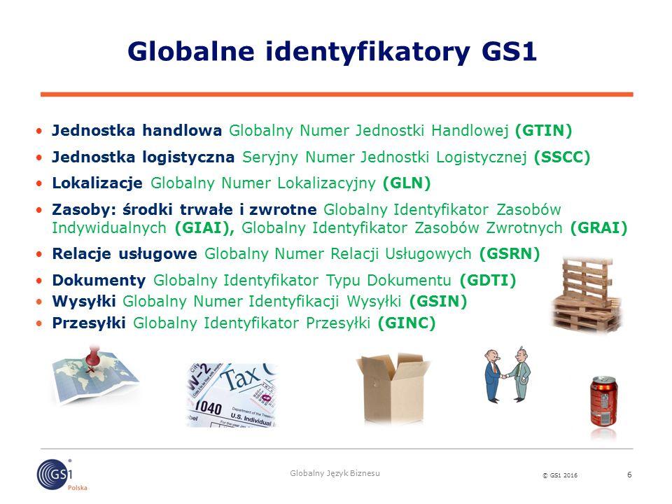 © GS1 2016 Globalny Język Biznesu Globalne identyfikatory GS1 6 Jednostka handlowa Globalny Numer Jednostki Handlowej (GTIN) Jednostka logistyczna Seryjny Numer Jednostki Logistycznej (SSCC) Lokalizacje Globalny Numer Lokalizacyjny (GLN) Zasoby: środki trwałe i zwrotne Globalny Identyfikator Zasobów Indywidualnych (GIAI), Globalny Identyfikator Zasobów Zwrotnych (GRAI) Relacje usługowe Globalny Numer Relacji Usługowych (GSRN) Dokumenty Globalny Identyfikator Typu Dokumentu (GDTI) Wysyłki Globalny Numer Identyfikacji Wysyłki (GSIN) Przesyłki Globalny Identyfikator Przesyłki (GINC)