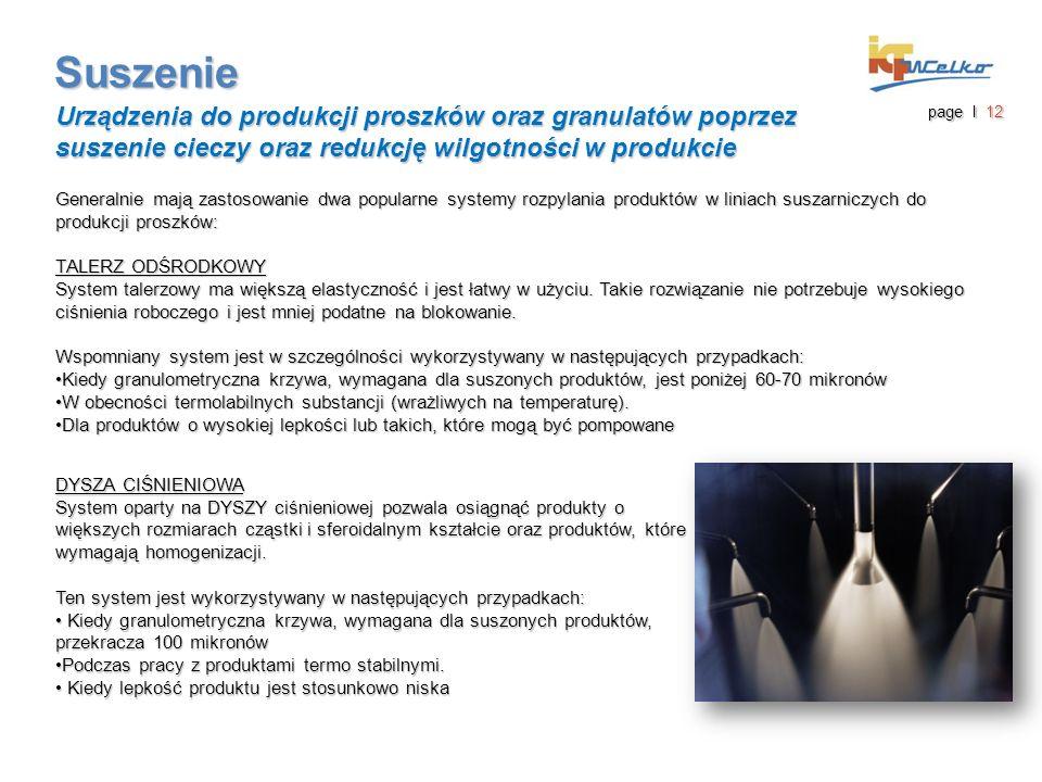 Suszenie Urządzenia do produkcji proszków oraz granulatów poprzez suszenie cieczy oraz redukcję wilgotności w produkcie page I 12 Generalnie mają zast
