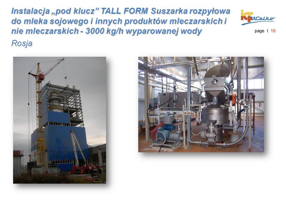"""Instalacja """"pod klucz"""" TALL FORM Suszarka rozpyłowa do mleka sojowego i innych produktów mleczarskich i nie mleczarskich - 3000 kg/h wyparowanej wody"""