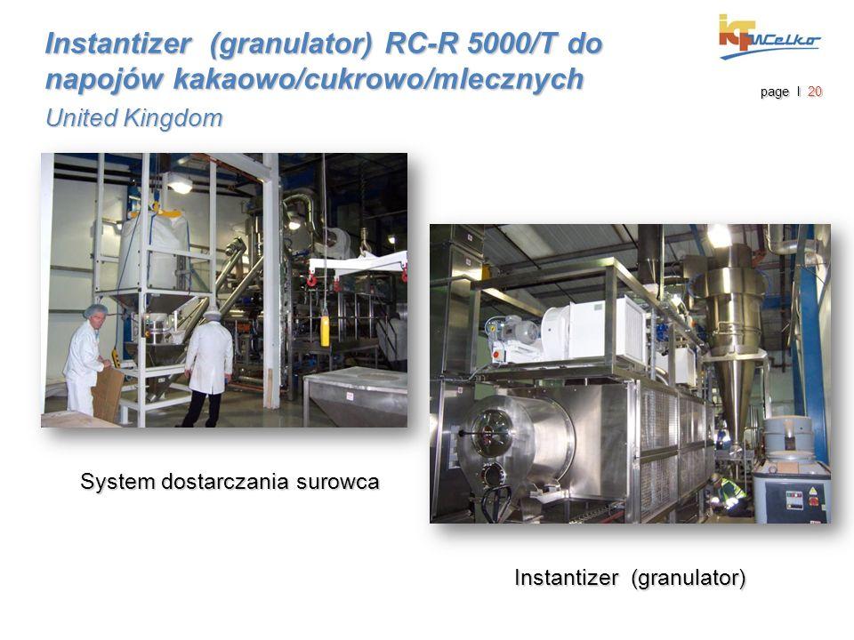 System dostarczania surowca Instantizer (granulator) RC-R 5000/T do napojów kakaowo/cukrowo/mlecznych United Kingdom page I 20 Instantizer (granulator