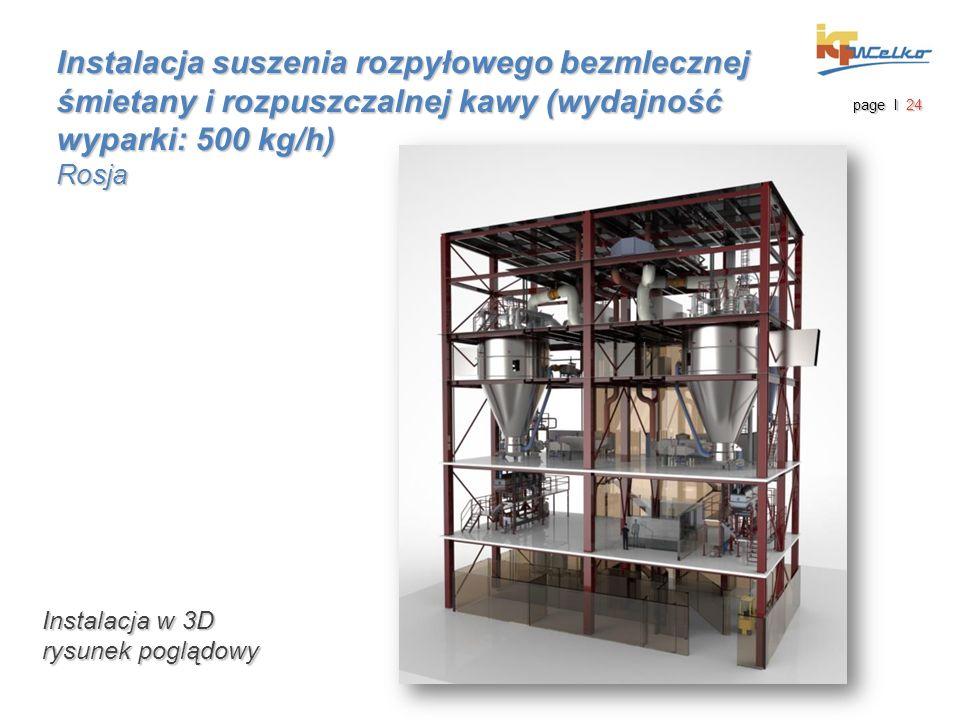 Instalacja suszenia rozpyłowego bezmlecznej śmietany i rozpuszczalnej kawy (wydajność wyparki: 500 kg/h) Rosja page I 24 Instalacja w 3D rysunek poglą
