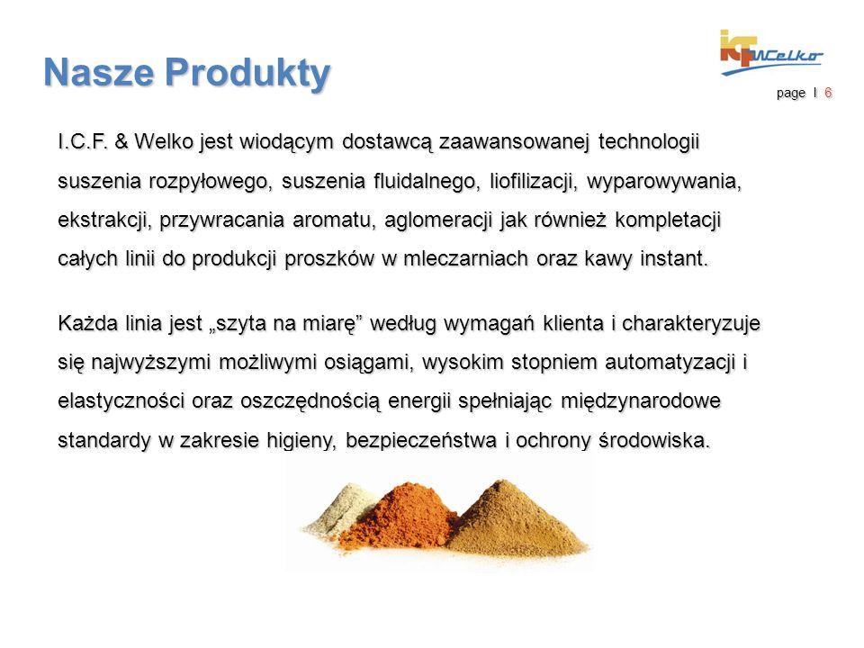 Nasze Produkty I.C.F. & Welko jest wiodącym dostawcą zaawansowanej technologii suszenia rozpyłowego, suszenia fluidalnego, liofilizacji, wyparowywania