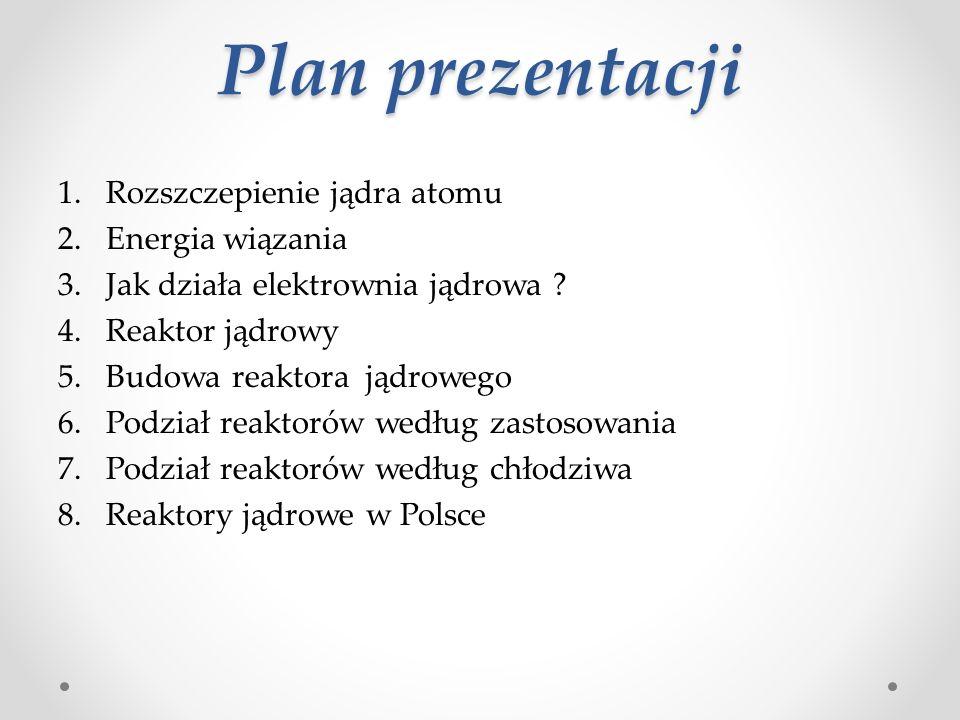 Plan prezentacji 1.Rozszczepienie jądra atomu 2.Energia wiązania 3.Jak działa elektrownia jądrowa .