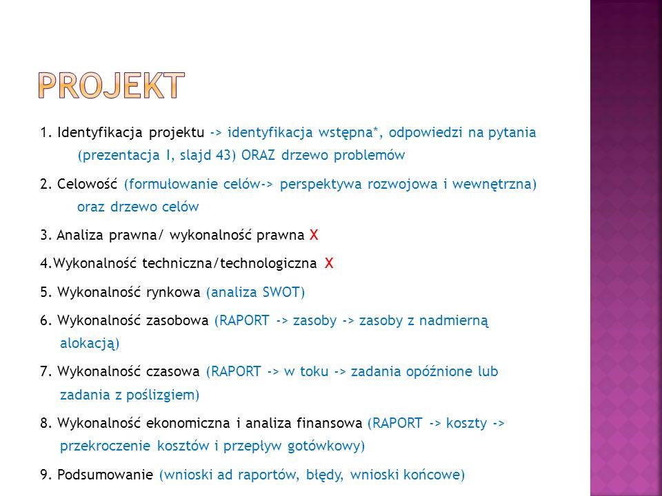 1. Identyfikacja projektu -> identyfikacja wstępna*, odpowiedzi na pytania (prezentacja I, slajd 43) ORAZ drzewo problemów 2. Celowość (formułowanie c