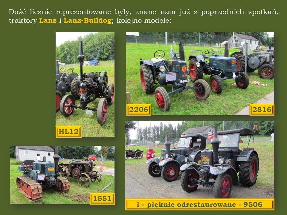 Dość licznie reprezentowane były, znane nam już z poprzednich spotkań, traktory Lanz i Lanz-Bulldog ; kolejno modele: HL12 i - pięknie odrestaurowane - 9506 28162206 1551