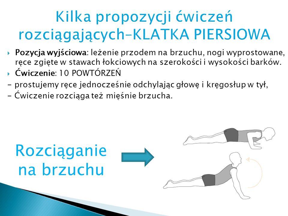  Pozycja wyjściowa: leżenie przodem na brzuchu, nogi wyprostowane, ręce zgięte w stawach łokciowych na szerokości i wysokości barków.