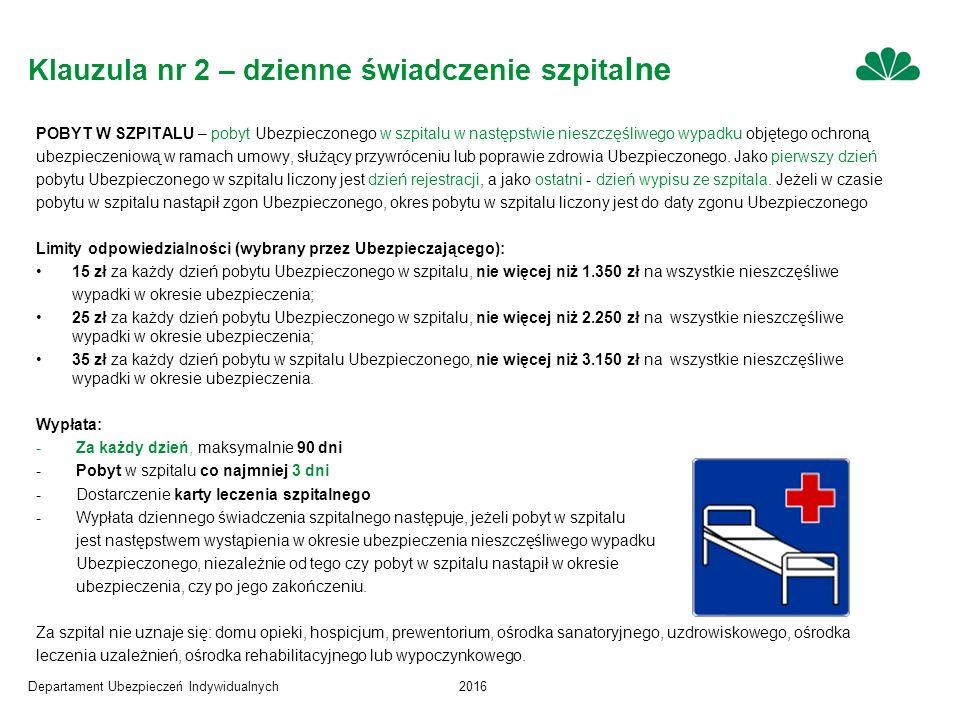Departament Ubezpieczeń Indywidualnych2016 Klauzula nr 2 – dzienne świadczenie szpita lne POBYT W SZPITALU – pobyt Ubezpieczonego w szpitalu w następstwie nieszczęśliwego wypadku objętego ochroną ubezpieczeniową w ramach umowy, służący przywróceniu lub poprawie zdrowia Ubezpieczonego.