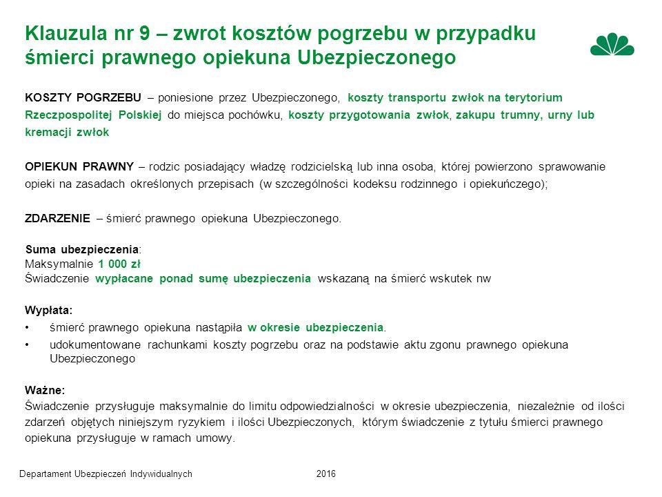 Departament Ubezpieczeń Indywidualnych2016 Klauzula nr 9 – zwrot kosztów pogrzebu w przypadku śmierci prawnego opiekuna Ubezpieczonego KOSZTY POGRZEBU – poniesione przez Ubezpieczonego, koszty transportu zwłok na terytorium Rzeczpospolitej Polskiej do miejsca pochówku, koszty przygotowania zwłok, zakupu trumny, urny lub kremacji zwłok OPIEKUN PRAWNY – rodzic posiadający władzę rodzicielską lub inna osoba, której powierzono sprawowanie opieki na zasadach określonych przepisach (w szczególności kodeksu rodzinnego i opiekuńczego); ZDARZENIE – śmierć prawnego opiekuna Ubezpieczonego.