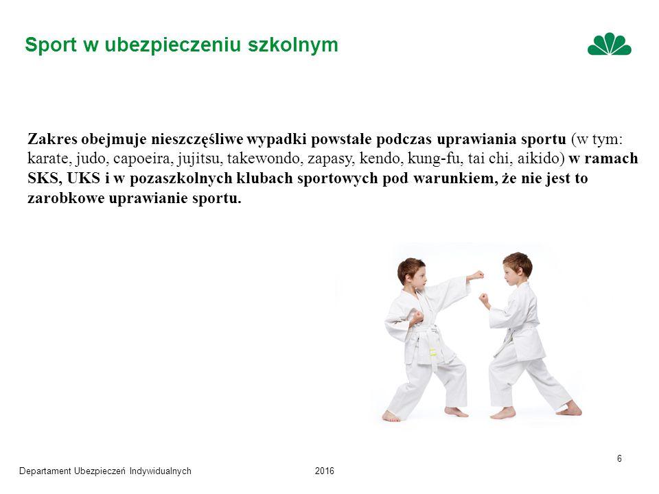 Departament Ubezpieczeń Indywidualnych2016 6 Zakres obejmuje nieszczęśliwe wypadki powstałe podczas uprawiania sportu (w tym: karate, judo, capoeira, jujitsu, takewondo, zapasy, kendo, kung-fu, tai chi, aikido) w ramach SKS, UKS i w pozaszkolnych klubach sportowych pod warunkiem, że nie jest to zarobkowe uprawianie sportu.