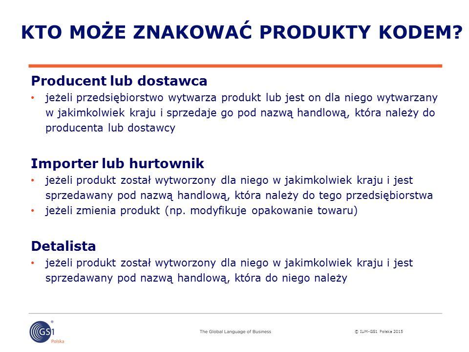 © ILiM-GS1 Polska 2015 KTO MOŻE ZNAKOWAĆ PRODUKTY KODEM.