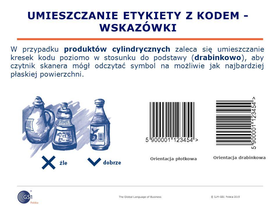© ILiM-GS1 Polska 2015 UMIESZCZANIE ETYKIETY Z KODEM - WSKAZÓWKI W przypadku produktów cylindrycznych zaleca się umieszczanie kresek kodu poziomo w stosunku do podstawy (drabinkowo), aby czytnik skanera mógł odczytać symbol na możliwie jak najbardziej płaskiej powierzchni.