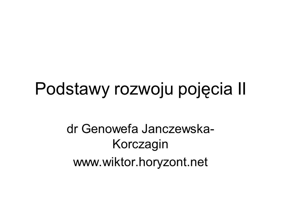 Podstawy rozwoju pojęcia II dr Genowefa Janczewska- Korczagin www.wiktor.horyzont.net