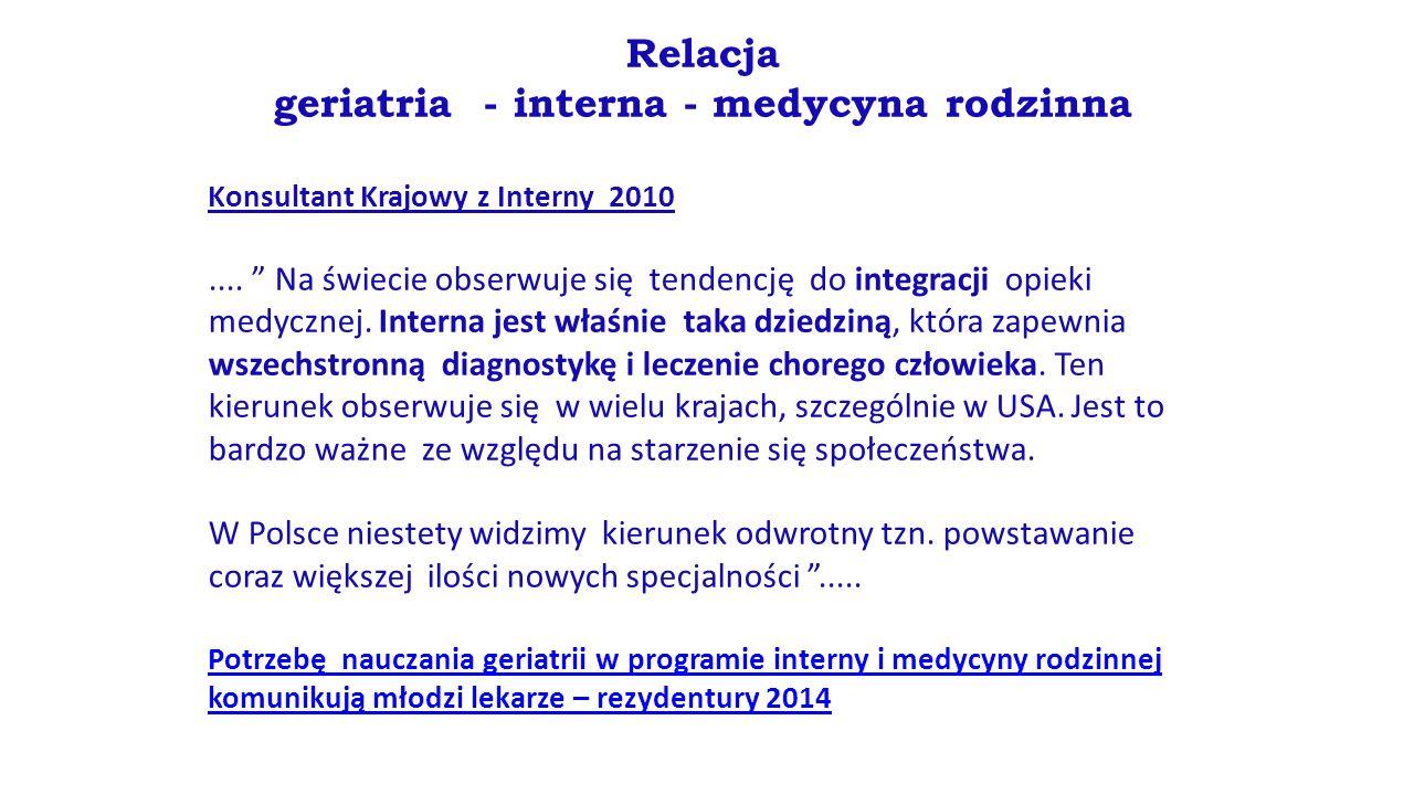 """Relacja geriatria - interna - medycyna rodzinna Konsultant Krajowy z Interny 2010.... """" Na świecie obserwuje się tendencję do integracji opieki medycz"""