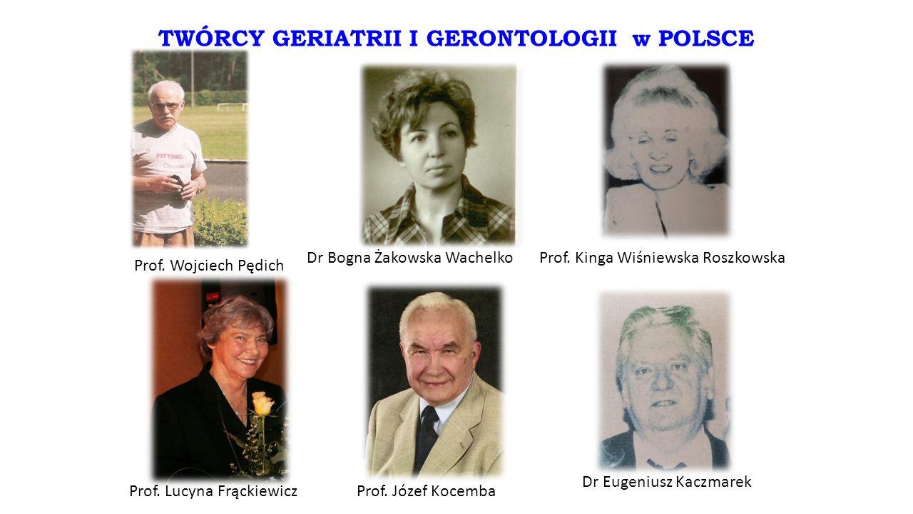 TWÓRCY GERIATRII I GERONTOLOGII w POLSCE Prof. Wojciech Pędich Dr Bogna Żakowska WachelkoProf. Kinga Wiśniewska Roszkowska Prof. Lucyna Frąckiewicz Pr