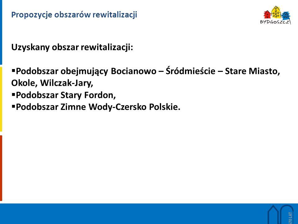Propozycje obszarów rewitalizacji Uzyskany obszar rewitalizacji:  Podobszar obejmujący Bocianowo – Śródmieście – Stare Miasto, Okole, Wilczak-Jary,  Podobszar Stary Fordon,  Podobszar Zimne Wody-Czersko Polskie.