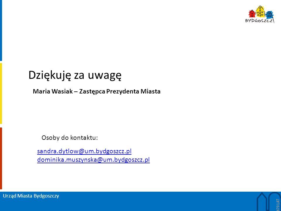 Urząd Miasta Bydgoszczy Dziękuję za uwagę sandra.dytlow@um.bydgoszcz.pl dominika.muszynska@um.bydgoszcz.pl Maria Wasiak – Zastępca Prezydenta Miasta Osoby do kontaktu: