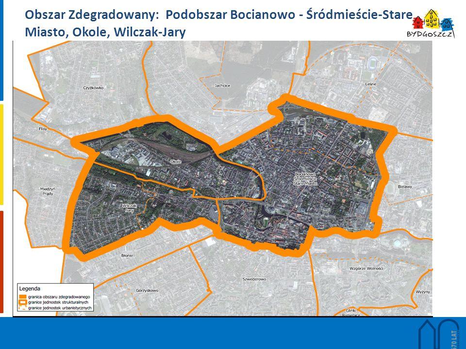 Obszar Zdegradowany: Podobszar Bocianowo - Śródmieście-Stare Miasto, Okole, Wilczak-Jary
