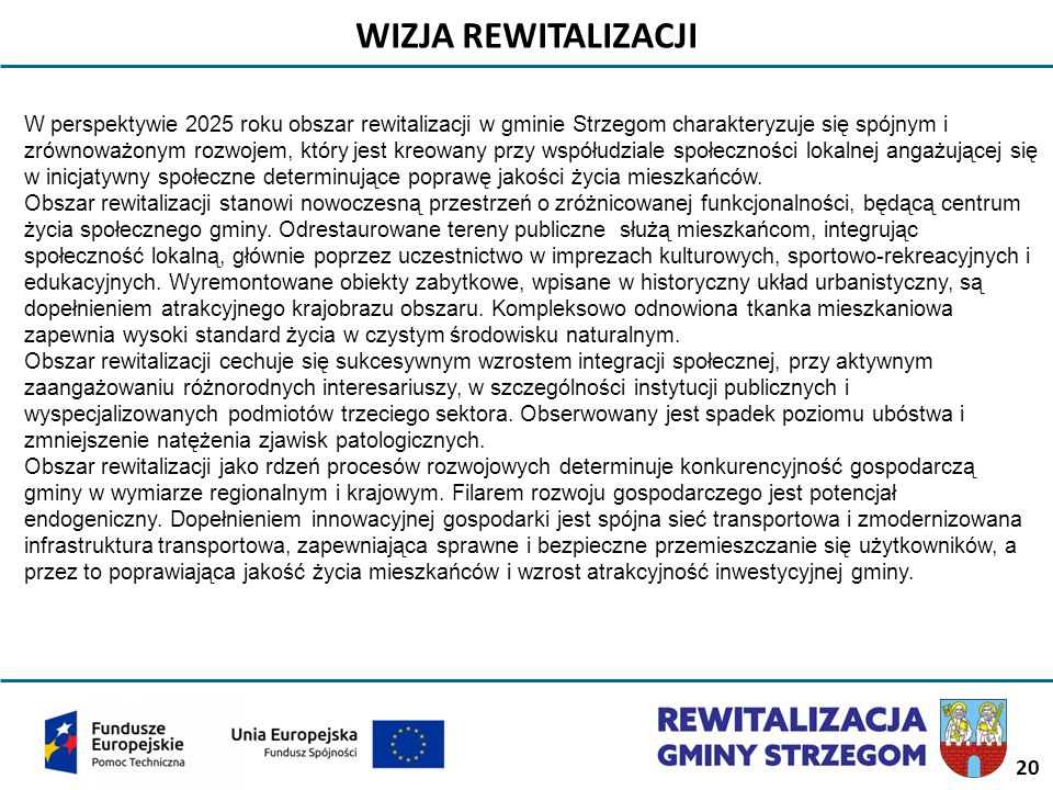 20 WIZJA REWITALIZACJI W perspektywie 2025 roku obszar rewitalizacji w gminie Strzegom charakteryzuje się spójnym i zrównoważonym rozwojem, który jest