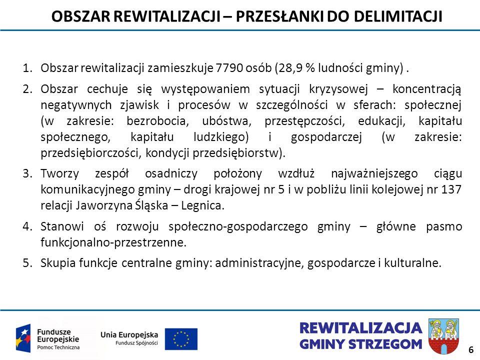6 OBSZAR REWITALIZACJI – PRZESŁANKI DO DELIMITACJI 1.Obszar rewitalizacji zamieszkuje 7790 osób (28,9 % ludności gminy). 2.Obszar cechuje się występow