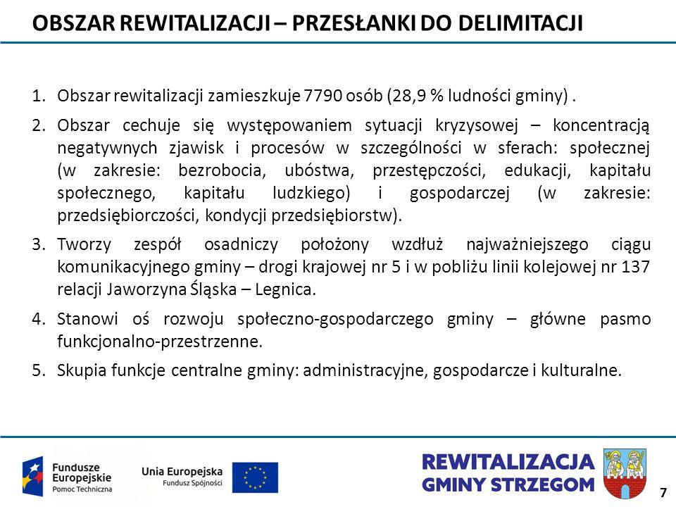 7 OBSZAR REWITALIZACJI – PRZESŁANKI DO DELIMITACJI 1.Obszar rewitalizacji zamieszkuje 7790 osób (28,9 % ludności gminy). 2.Obszar cechuje się występow