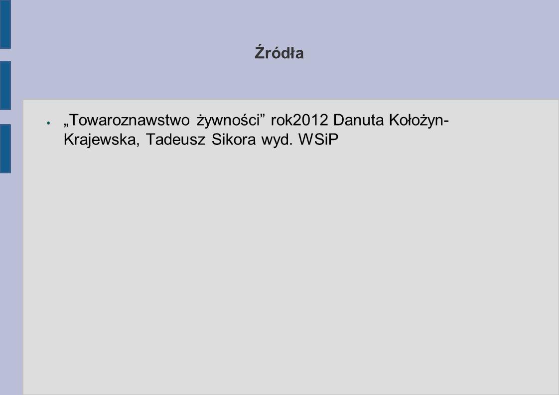"""Źródła ● """"Towaroznawstwo żywności rok2012 Danuta Kołożyn- Krajewska, Tadeusz Sikora wyd. WSiP"""
