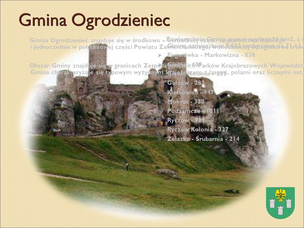 Gmina Ogrodzieniec Gmina Ogrodzieniec znajduje się w środkowo – wschodniej części województwa śląskiego i jednocześnie w południowej części Powiatu Zawierciańskiego, w niedalekiej odległości od trzech głównych aglomeracji Polski południowej: Krakowa, Katowic i Częstochowy.