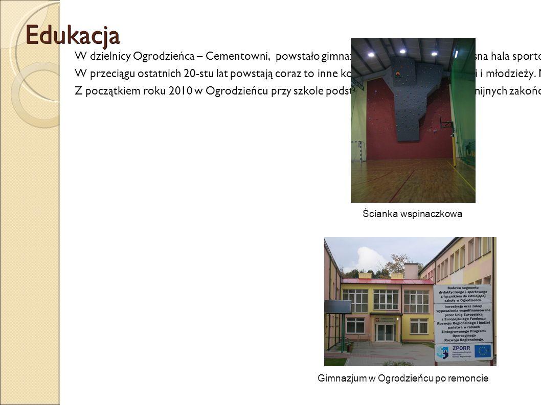 Edukacja W dzielnicy Ogrodzieńca – Cementowni, powstało gimnazjum, a przy nim nowoczesna hala sportowa, w której w roku 2009 została wybudowana ściank
