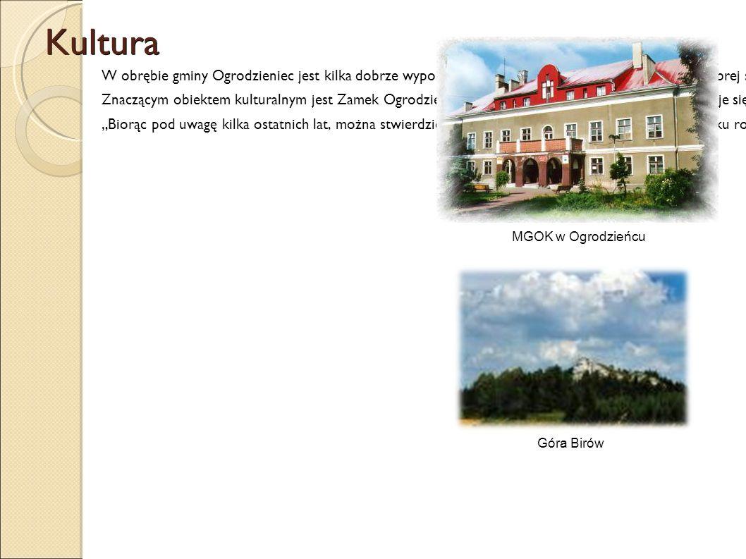 Kultura W obrębie gminy Ogrodzieniec jest kilka dobrze wyposażonych bibliotek, które są od wielu lat w dobrej sytuacji. Miejsko-Gminny Ośrodek Kultury