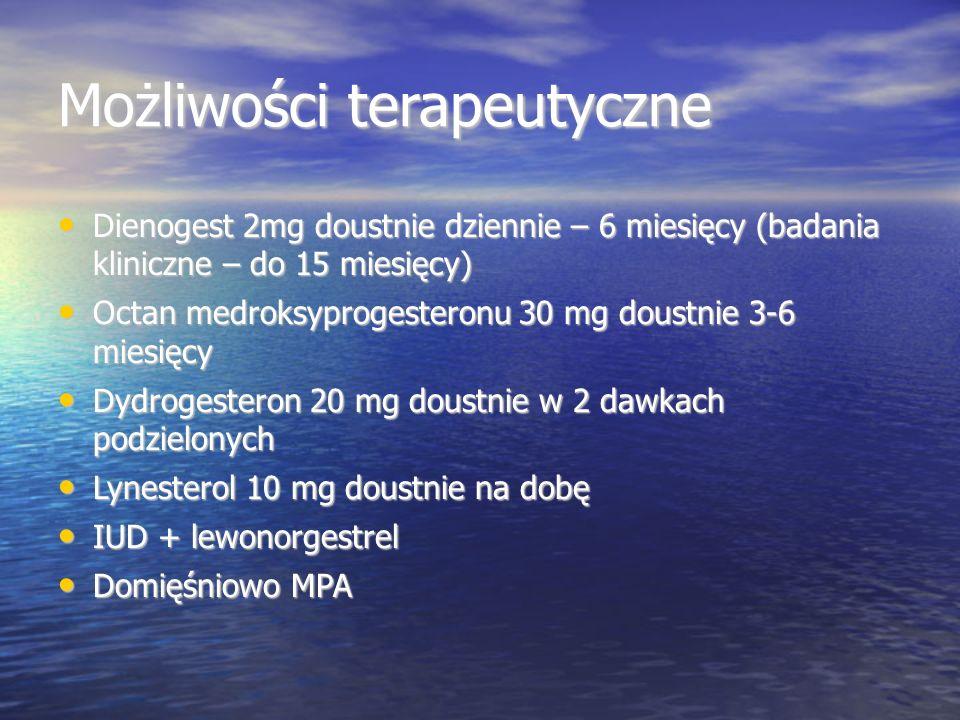 Możliwości terapeutyczne Dienogest 2mg doustnie dziennie – 6 miesięcy (badania kliniczne – do 15 miesięcy) Dienogest 2mg doustnie dziennie – 6 miesięcy (badania kliniczne – do 15 miesięcy) Octan medroksyprogesteronu 30 mg doustnie 3-6 miesięcy Octan medroksyprogesteronu 30 mg doustnie 3-6 miesięcy Dydrogesteron 20 mg doustnie w 2 dawkach podzielonych Dydrogesteron 20 mg doustnie w 2 dawkach podzielonych Lynesterol 10 mg doustnie na dobę Lynesterol 10 mg doustnie na dobę IUD + lewonorgestrel IUD + lewonorgestrel Domięśniowo MPA Domięśniowo MPA