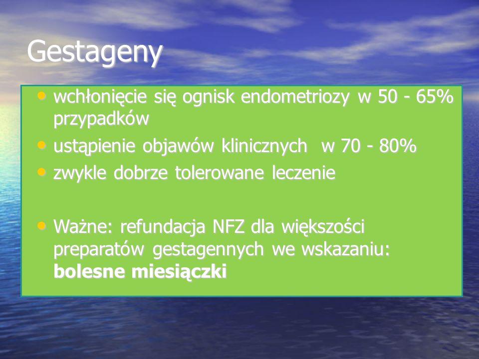 Gestageny wchłonięcie się ognisk endometriozy w 50 - 65% przypadków wchłonięcie się ognisk endometriozy w 50 - 65% przypadków ustąpienie objawów klinicznych w 70 - 80% ustąpienie objawów klinicznych w 70 - 80% zwykle dobrze tolerowane leczenie zwykle dobrze tolerowane leczenie Ważne: refundacja NFZ dla większości preparatów gestagennych we wskazaniu: bolesne miesiączki Ważne: refundacja NFZ dla większości preparatów gestagennych we wskazaniu: bolesne miesiączki