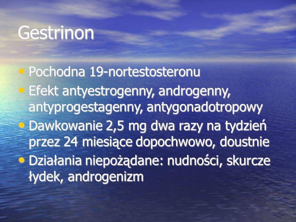 Gestrinon Pochodna 19-nortestosteronu Pochodna 19-nortestosteronu Efekt antyestrogenny, androgenny, antyprogestagenny, antygonadotropowy Efekt antyestrogenny, androgenny, antyprogestagenny, antygonadotropowy Dawkowanie 2,5 mg dwa razy na tydzień przez 24 miesiące dopochwowo, doustnie Dawkowanie 2,5 mg dwa razy na tydzień przez 24 miesiące dopochwowo, doustnie Działania niepożądane: nudności, skurcze łydek, androgenizm Działania niepożądane: nudności, skurcze łydek, androgenizm