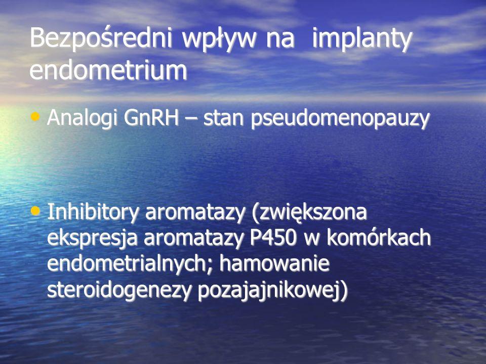 Bezpośredni wpływ na implanty endometrium Analogi GnRH – stan pseudomenopauzy Analogi GnRH – stan pseudomenopauzy Inhibitory aromatazy (zwiększona ekspresja aromatazy P450 w komórkach endometrialnych; hamowanie steroidogenezy pozajajnikowej) Inhibitory aromatazy (zwiększona ekspresja aromatazy P450 w komórkach endometrialnych; hamowanie steroidogenezy pozajajnikowej)
