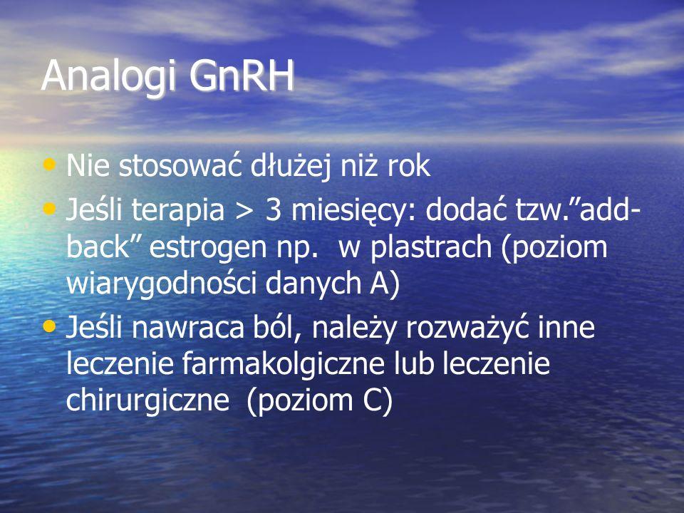 Analogi GnRH Nie stosować dłużej niż rok Jeśli terapia > 3 miesięcy: dodać tzw. add- back estrogen np.