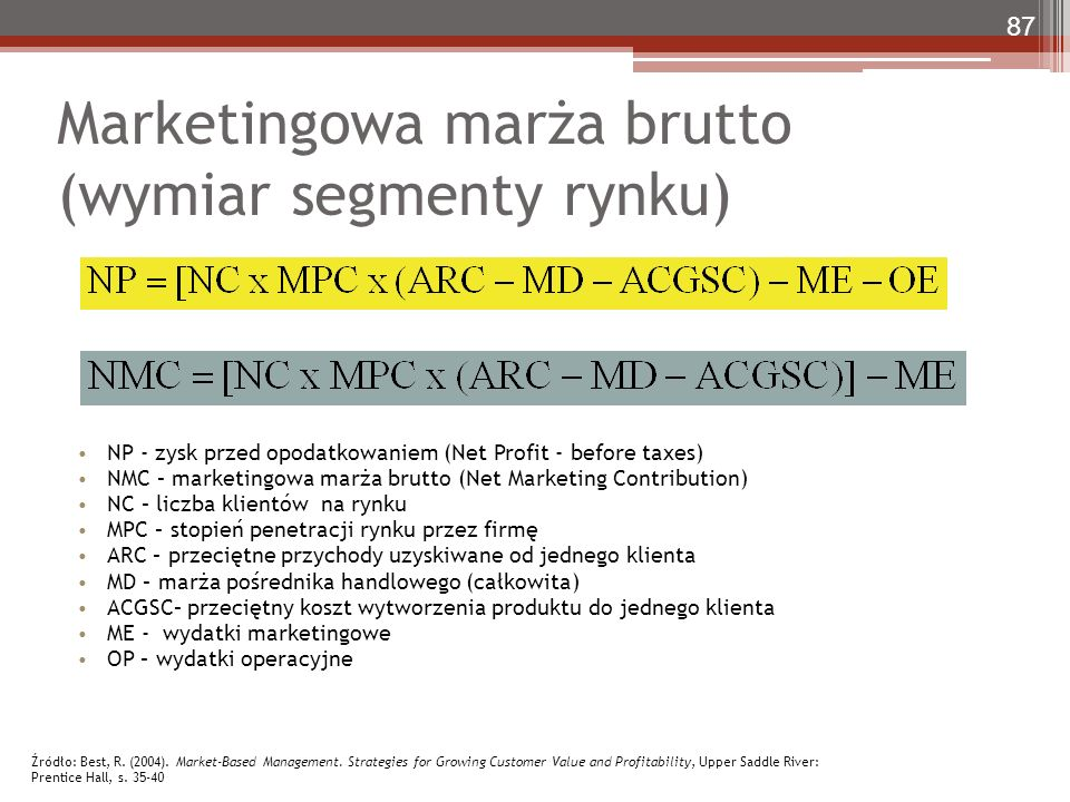 Marketingowa marża brutto (wymiar segmenty rynku) NP - zysk przed opodatkowaniem (Net Profit - before taxes) NMC – marketingowa marża brutto (Net Mark