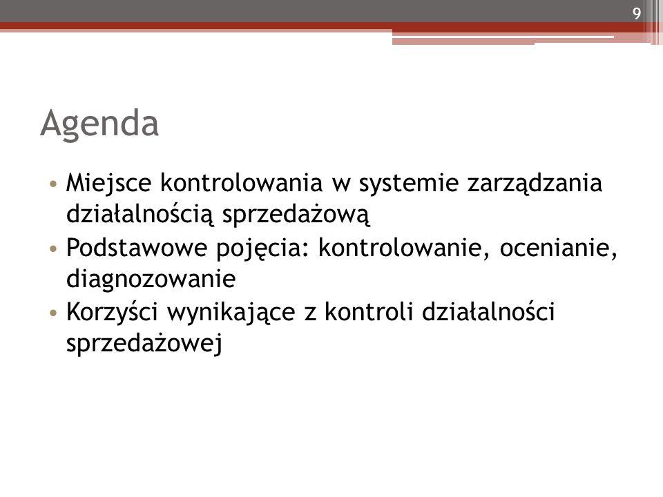 Agenda Miejsce kontrolowania w systemie zarządzania działalnością sprzedażową Podstawowe pojęcia: kontrolowanie, ocenianie, diagnozowanie Korzyści wynikające z kontroli działalności sprzedażowej 9