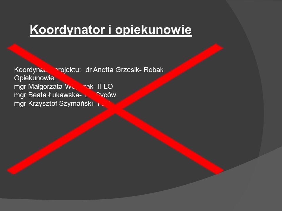 Koordynator projektu: dr Anetta Grzesik- Robak Opiekunowie: mgr Małgorzata Wojtczak- II LO mgr Beata Łukawska- LO Syców mgr Krzysztof Szymański- I LO Koordynator i opiekunowie