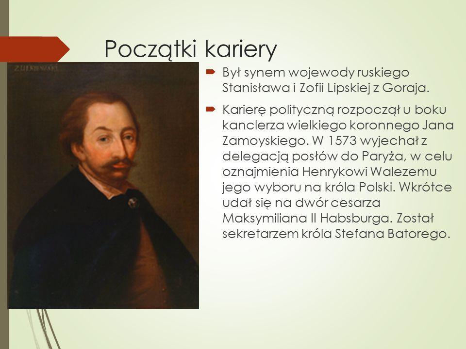 Początki kariery  Był synem wojewody ruskiego Stanisława i Zofii Lipskiej z Goraja.