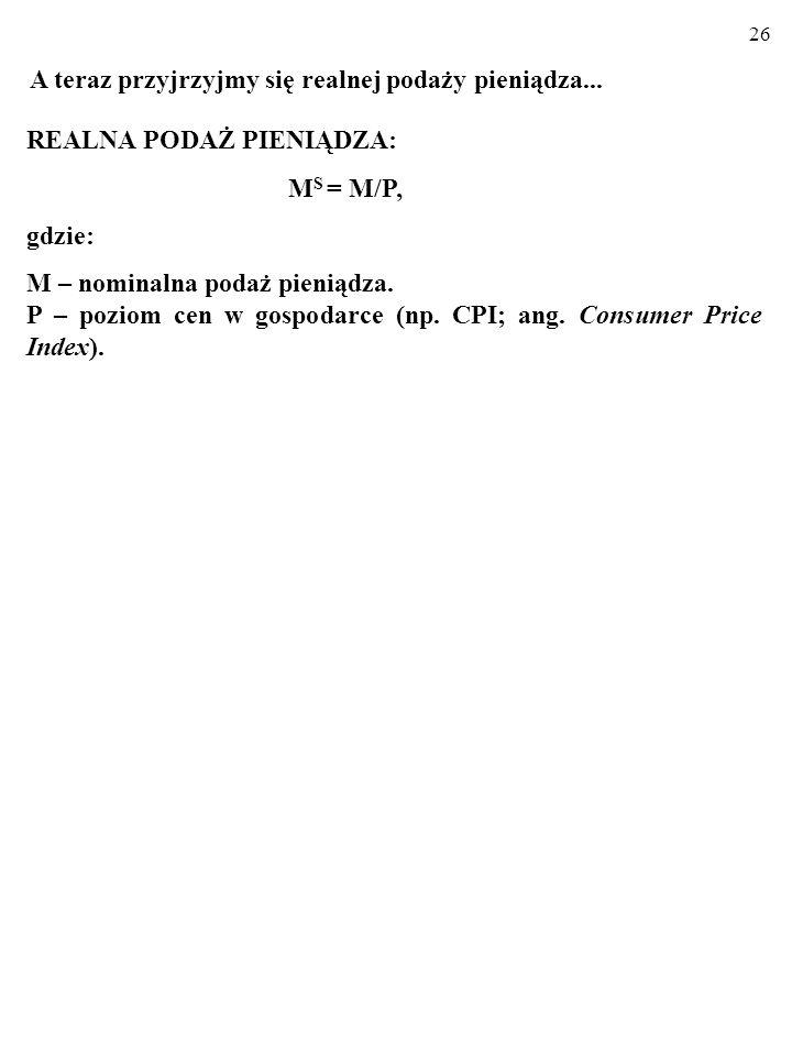 25 M D = kY – hi Realny popyt na pieniądz a stopa procentowa i realna wielkość produkcji 1.