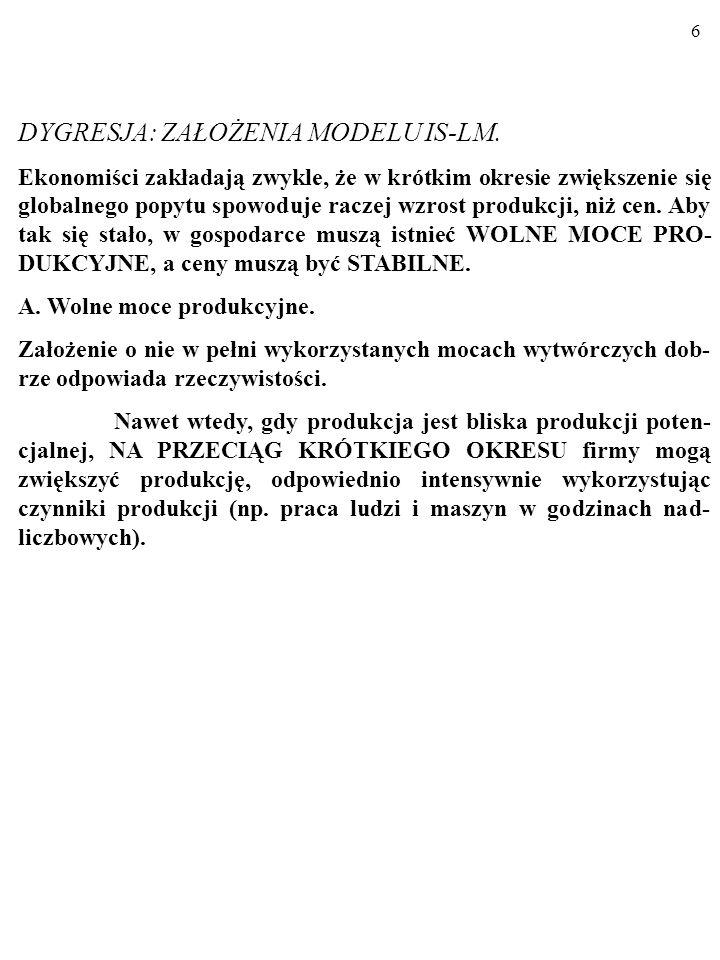 5 Badamy wpływ wahań zagregowanych wydatków, AE PL, na wielkość produkcji W KRÓTKIM OKRESIE.