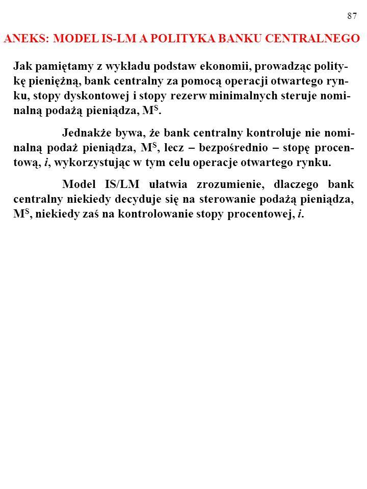 86 Ekspansywna polityka gospodarcza a struktura PKB Skoro ekspansywna polityka pieniężna powoduje spadek stopy procentowej, to jej efektem jest wzrost inwestycji.