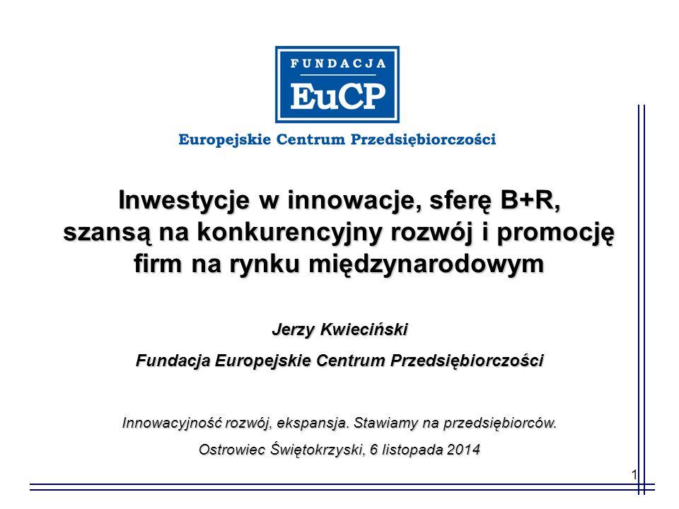 1 Inwestycje w innowacje, sferę B+R, szansą na konkurencyjny rozwój i promocję firm na rynku międzynarodowym Jerzy Kwieciński Fundacja Europejskie Centrum Przedsiębiorczości Innowacyjność rozwój, ekspansja.