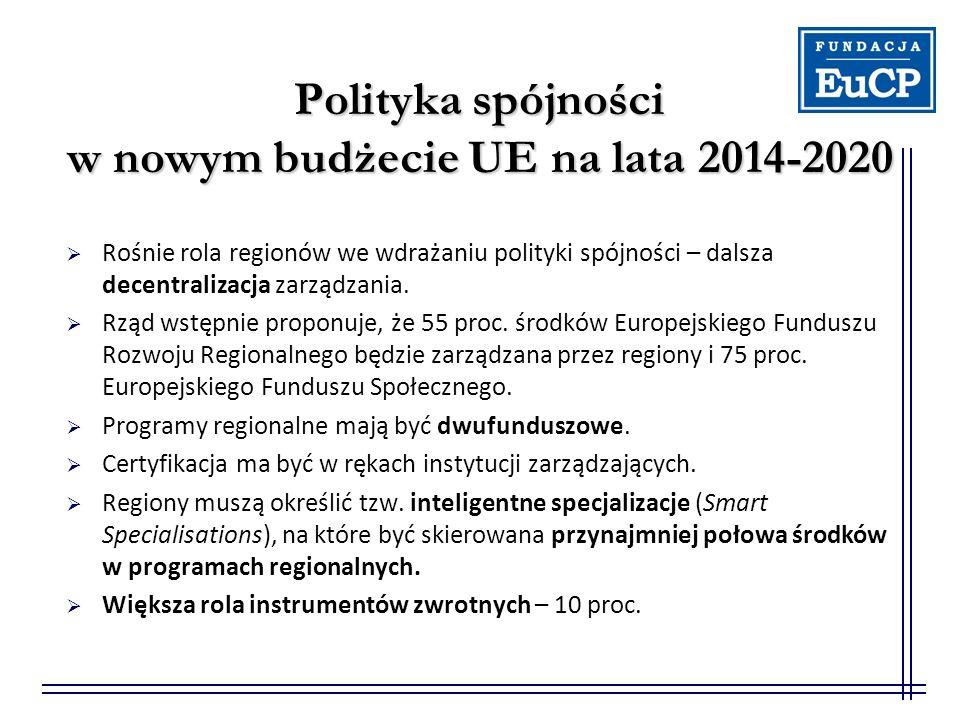 Polityka spójności w nowym budżecie UE na lata 2014-2020  Rośnie rola regionów we wdrażaniu polityki spójności – dalsza decentralizacja zarządzania.