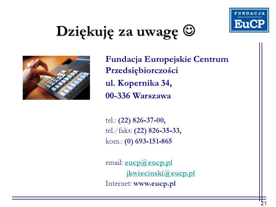 21 Dziękuję za uwagę Dziękuję za uwagę Fundacja Europejskie Centrum Przedsiębiorczości ul. Kopernika 34, 00-336 Warszawa tel.: (22) 826-37-00, tel./fa